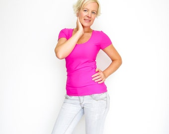 FREE SHIPPING,  Pink scoop neck top, Hot pink spring top, Spring fashion top