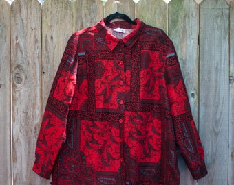1990s Plus Size Vintage Red, Black and Gray Paisley and Leopard Print Lightweight Jacket or Blouse