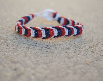 Red White and Blue Fishbone Hemp Bracelet