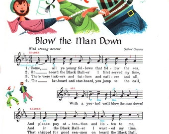 Blow the Man Down, Sailor's and Sea Shanty, from original 1950s illustration Poster Print.