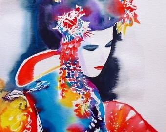 Geisha Rouge Fashion Illustration Art Print Original Watercolor Painting Japanese Kimono Colors Asian Oriental Red Fan Japan