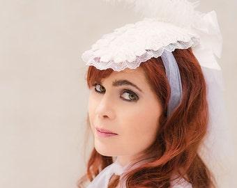 Bridal Victorian morning bonnet lace headdress ostrich feather gothic lolita headpiece victorian lace bonnet
