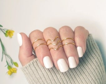 Gold Knuckle Ring Set, Midi Rings, Stacking Above Knuckle Rings, Gift for Her, Set of 7- 3 Chevrons and 4 Bands/ Simple Rings