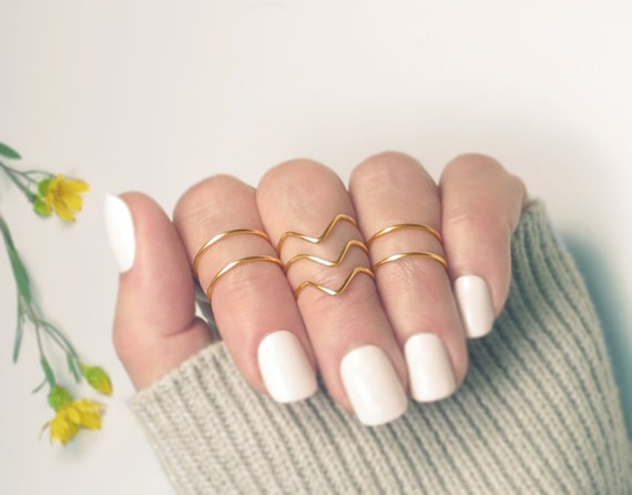 Gold Knuckle Ring Set Midi Rings Stacking Knuckle