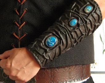 Medieval Sorcerer Wizard Druid Warrior Queen Witch Leather Single Forearm Bracer with Blue Jasper Gemstones