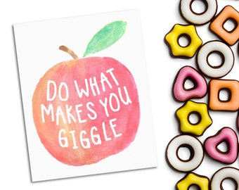 Printable fruit art nursery decor - do what makes you giggle - watercolour typography print - new baby gift - girly bedroom decor