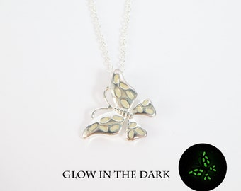 Glow in the dark jewelry butterfly necklace mothers necklace wife birthday gift christmas gift sister gift daughter necklace glowing jewelry