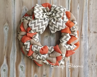 Chevron Fall Wreath, Autumn Wreath, Burlap Wreath, Rustic Wreath, Burlap Fall Wreath