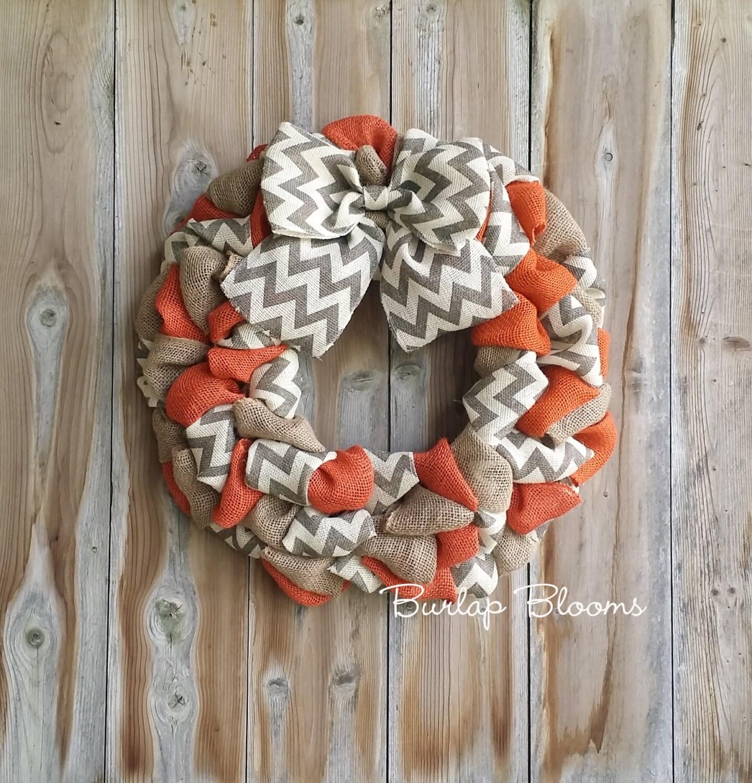 Chevron Fall Wreath Autumn Wreath Burlap Wreath Rustic