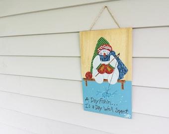 Hand Painted Snowman - Fishing Art - Primitive Snowman - Fishing Decor - Reclaimed Wood - Christmas Decor - Fishing Signs - Whimsical Art