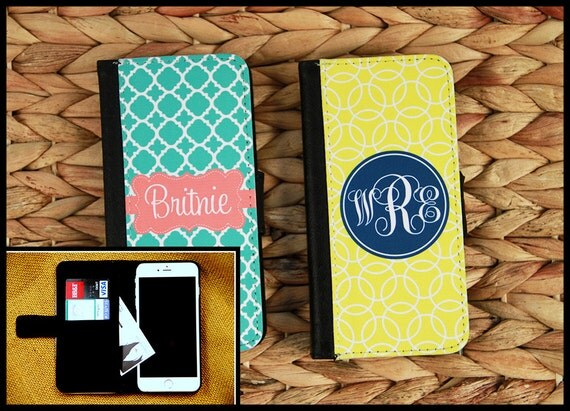 Wallet Case iPhone 8 7 Plus 5 6 6+ 6 Plus Samsung Galaxy 3 4 and 5 S3 S4 S5 Case Cell Phone Accessories Monogrammed Gift Custom Personalized