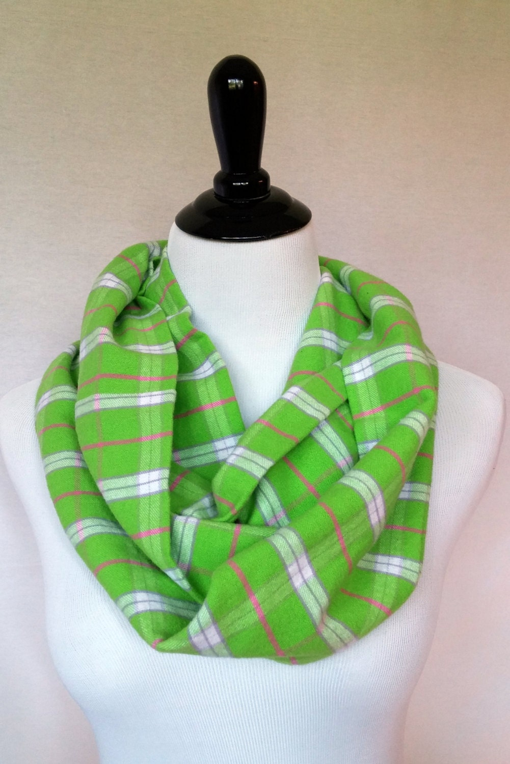 Lime Green Pink Plaid Flannel Infinity Scarf By