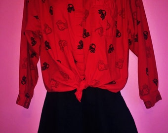 SALE 80s Razzle Dazzle Car Print Shirt, Size Small