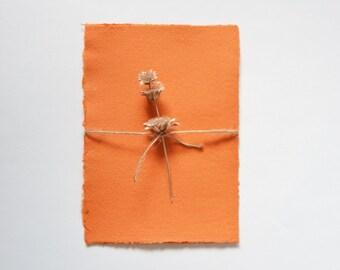 Dyed Orange Handmade Paper / Orange Recycled Paper - Orange Paper Pack of 3 sheets