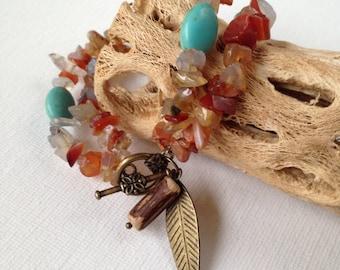 Boho Style Carnelian Bracelet Genuine Magnesite and Carnelian Natural Jewlery Meditation Orange and Turquoise
