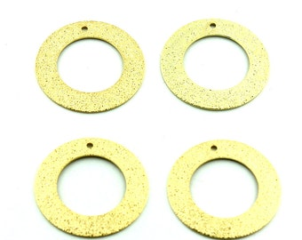 4 pcs 26mm Large24k  Gold Plated Stardust Matte Round Loops Top Hole Closed Ring Circles Brass Findings 102206