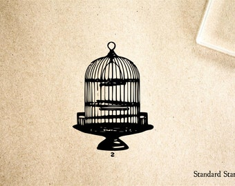 Birdcage Rubber Stamp - 2 x 2 inches