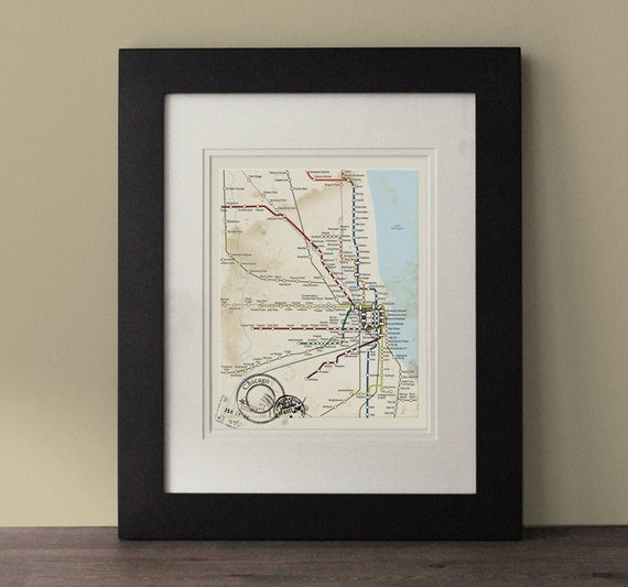 Chicago map vintage inspired map chicago wall art rustic - Vintage inspired wall art ...