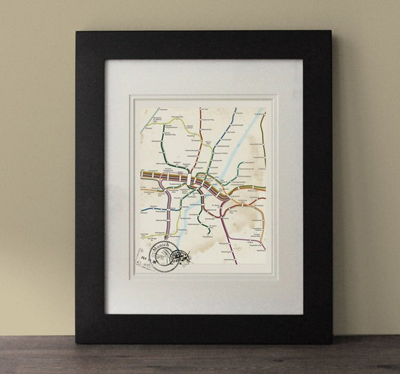 Munich map vintage inspired map munich wall art rustic wall - Vintage inspired wall art ...