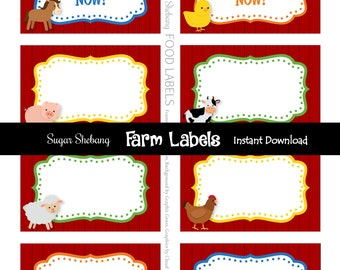 Farm Party Labels - Farm Tent Cards - INSTANTLY Downloadable and EDITABLE File!! Personalize with Adobe Reader NOW! - Farm Party Supplies