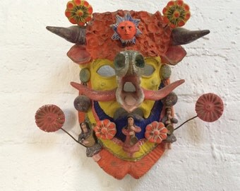 Vintage Mexican Terra Cotta Handpainted Devil Mask