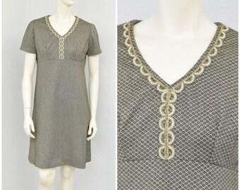 Vintage 60s Mod Metallic Gold Lurex A Line Dress, Beaded Dress, Geometric Dress, Space Age Dress, Knee Length Dress, Short Summer Dress