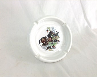 "Porcelain English Horseback Riding Ashtray by ""New Jersey Porcelain Co."""