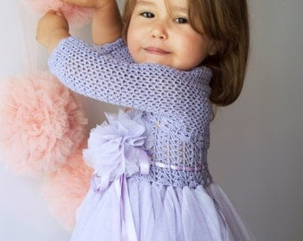 Girls Stretch Bolero. Crochet shrug for girls. Size 9-12 Years. Periwinkle color. Ready to ship