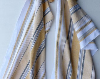 Handwoven Dishtowel in Yellows & Blues, Chef Towel, Handmade Dish Towel