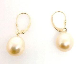 11mm South Sea Golden Pearls 14k Leverback Earrings