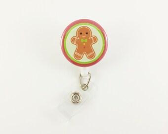 Gingerbread Boy - Badge Reel - Retractable ID Badge Holder - Holiday Badge Clip - Nurse - RN - Pediatric ID Holder - Cute Badge Reels