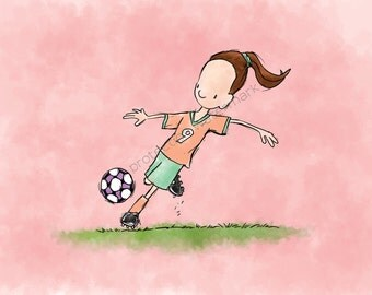 Soccer Girl (W) Art Print for Children's Room/ Nursery...8x10