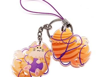 Cute Cat Keychain, Cute Cat Phone Charm, cute kitty, kitten, cats, kawaii kitty, cute charm, kawaii, cats, cat lover, cat lady, tabby