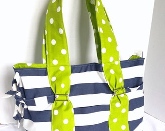 Large Diaper bag, purse, handbag navy blue and white stripe with lime green polka dot cotton, with or without zipper and bottle pockets