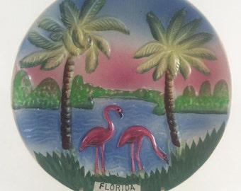 Florida Flamingo Souvenir Plate Majolica