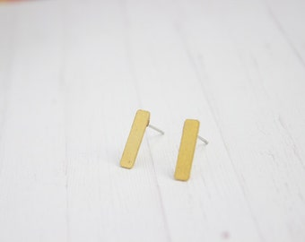 Minimal Line Brass Post Earrings