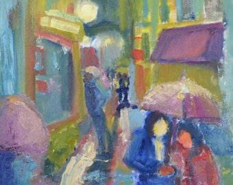 original oil painting, street life scene, 12x16, unframed, impressionistic