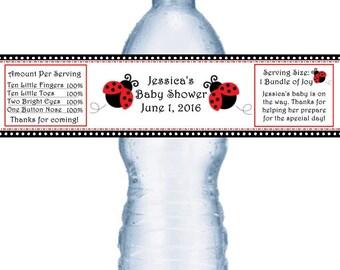 21 Ladybug Baby Shower Waterproof Water Bottle Labels