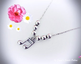 Music Note Necklace, Semi Quavers, Music Note, SIlver beaded Necklace, Music Jewellery
