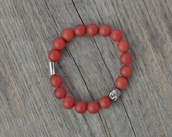 CLEARANCE Buddha - red agate bracelet, red Buddha bracelet, meditation bracelet, yoga bracelet, buddhist bracelet, red crystal bracelet