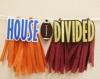 House Divided Decor ; Football Decoration ; House Divided Sign ; Tassel Banner ; Custom House Divided Banner ; University of Florida