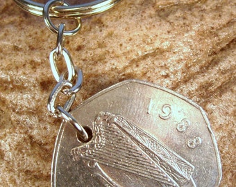 1988 Old Large 50p Fifty Pence Irish Coin Keyring Key Chain Fob 30th Birthday Caoga Pingin