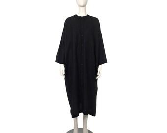 ESKANDAR Linen Drape Oversized Button Down Dress
