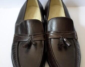 Vintage FLORSHEIM IMPERIAL NOS/Deadstock Unworn Brown Moc-Toe Tassel Loafers Size 8.5D