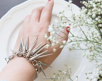 Spike Bracelet goht style bracelet  contemporary jewelry statement bracelet  industrial style goht style bracelet big Ready to ship