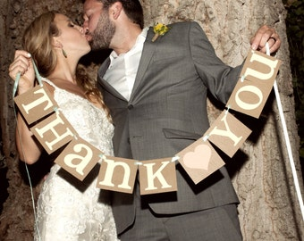 Thank You Sign / Rustic Wedding Banner Photo Prop - Wedding Sign - Wedding Decoration