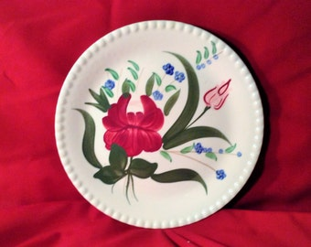 Floral Blue Ridge Plate - Hand Painted Southern Potteries