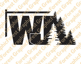 Jeep Grand Cherokee WJ with Trees Decal
