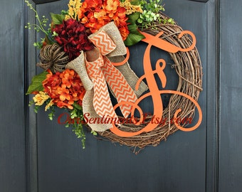 Fall Grapevine Wreath- Monogram Wreaths for door -  Wreath - Door Wreaths - Fall Wreaths for door - Wreath for door