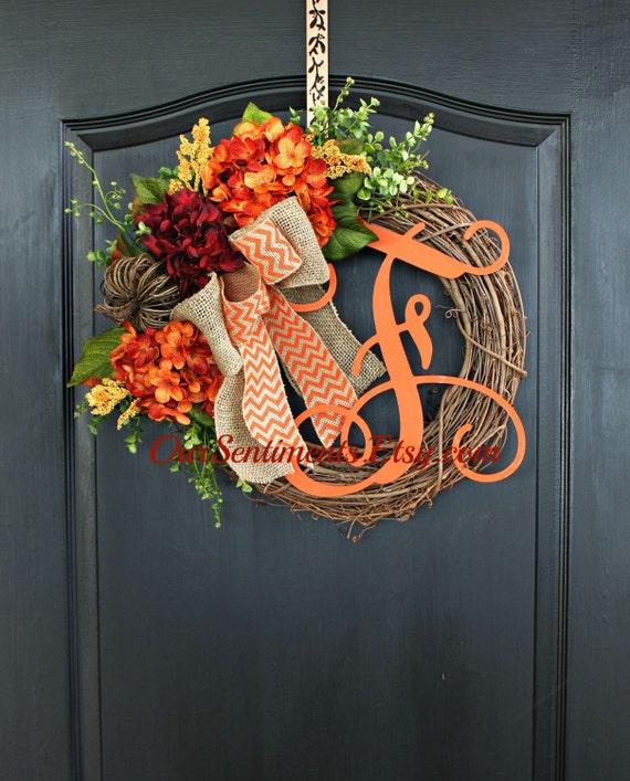 Fall Door Arrangements: Fall Grapevine Wreath Monogram Wreaths For Door By